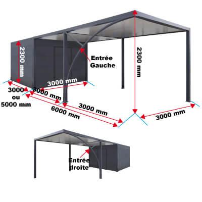 Dimensions de l'abri avec carport dégagement priximbattable